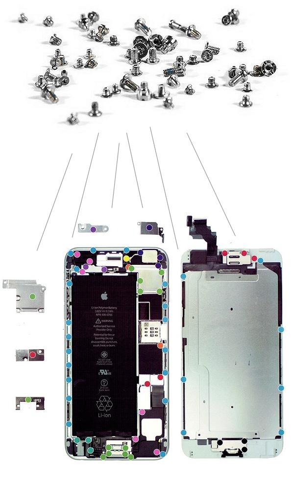 lot de vis iphone 6 plus kit de visserie complet pour. Black Bedroom Furniture Sets. Home Design Ideas